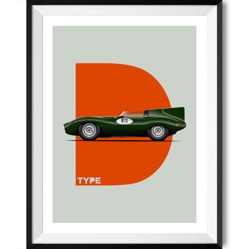 Jaguar D-Type Motorsport Poster Car Art Print - Rear View Prints