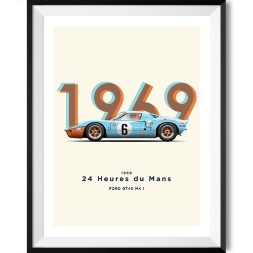 Ford GT40 1969 Poster Motorsport Art Print - Rear View Prints
