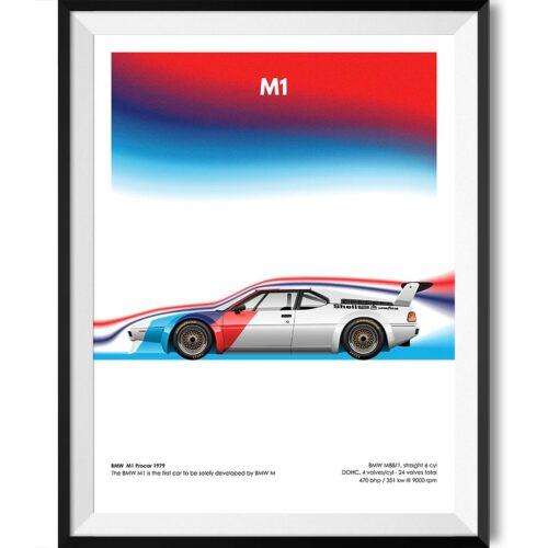 BMW M1 Procar Motorsport Poster Art Print - Rear View Prints