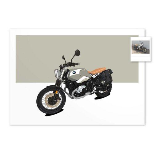Custom Car Art Commissions - Draw My Ride - Bike Art Print - Rear View Prints
