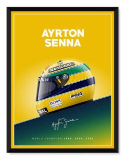 Aryton Senna Helmet Poster F1 Art Print - Rear View Prints