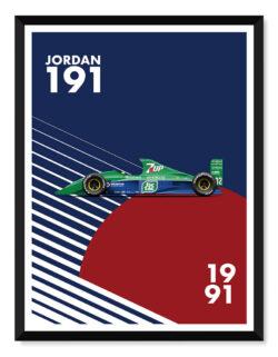 Jordan 191 F1 Car Poster Art Print - Rear Vew Prints