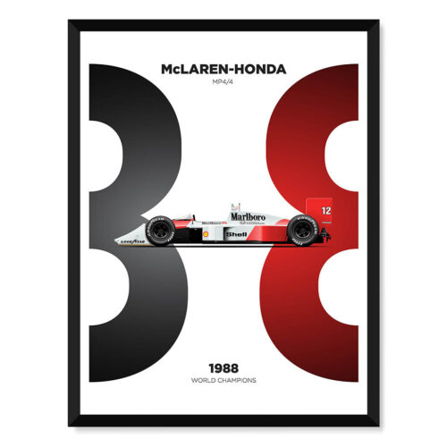 Mclaren Honda MP4/4 F1 Car Poster Art Print - Rear View Prints