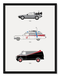 80s Movie Car Poster Art Print - Rear View Prints