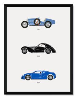 Bugatti - Car Poster - Art Print - Rear View Prints