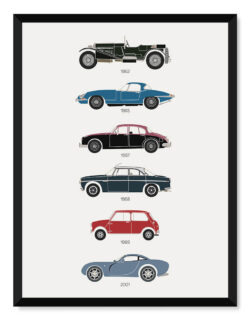 British Movie Cars Print Art Poster - Rear View Prints