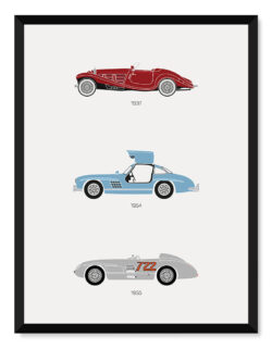 Mercedes Car Print - Classic Art Poster - Rear View Prints