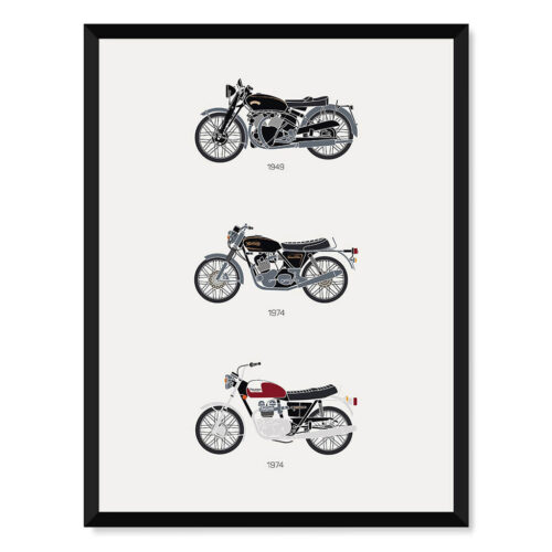 Classic British Motorbikes Art Poster - Rear View Prints