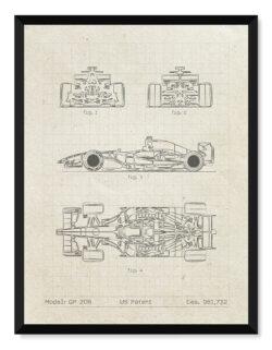 Dallara GP 208 - Car Patent Poster - Art Print - Rear View Prints