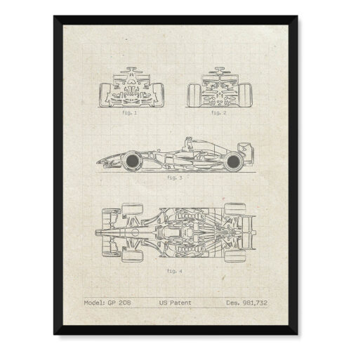 Dallara GP 208 - Car Patent Poster - Art Print - Rear View Prints