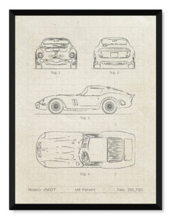 Ferrari 250GT Berlinetta - Car Patent Poster - Art Print - Rear View Prints