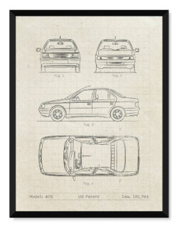 Peugeot 405 - Car Patent Poster - Art Print - Rear View Prints