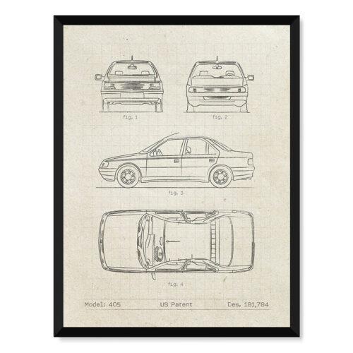 Peugeot 405 - Car Patent Poster - Art Print - Rear View Prints