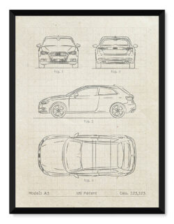 Audi A3 - Car Patent Poster - Art Print - Rear View Prints