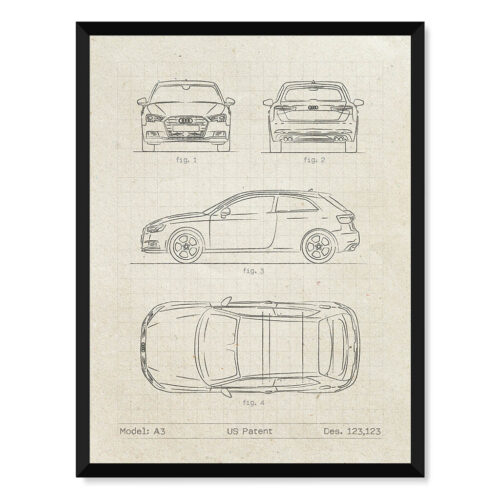 Audi A3 - Car Patent Poster - Art Print - Rear View Prints