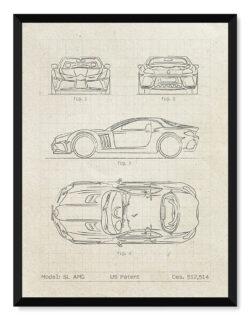 Mercedes Benz SL AMG - Car Patent Poster • Art Print - Rear View Prints