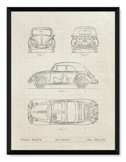 Volkswagen Beetle - Car Patent Poster - Art Print - Rear View Prints