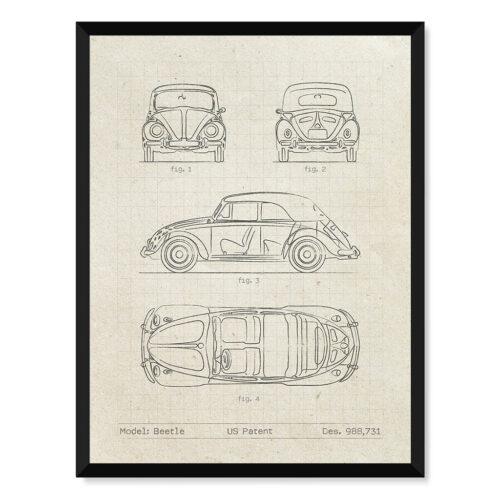 Volkswagen Beetle - Car Patent Poster - Art Print - Rear View Prints