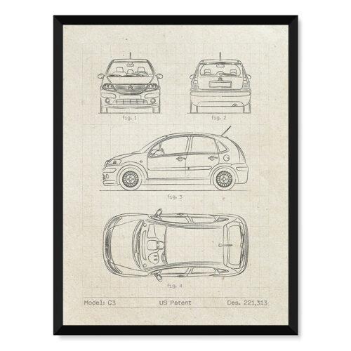 Citroen C3 - Car Patent Poster - Art Print - Rear View Prints