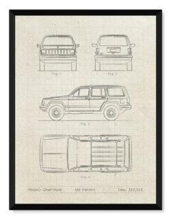 Jeep Cherokee - Car Patent Poster - Art Print - Rear View Prints