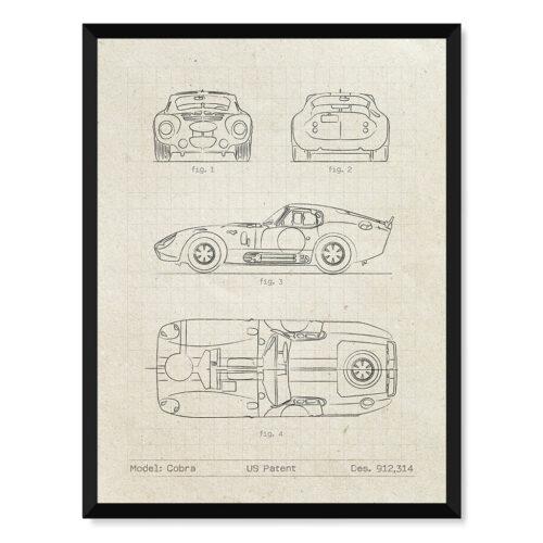 Shelby Cobra - Car Patent Poster - Art Print - Rear View Prints