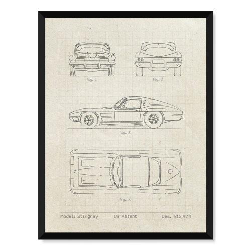 Chevrolet Corvette - Car Patent Poster - Art Print - Rear View Prints