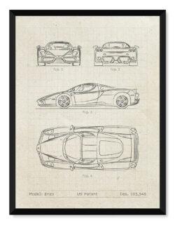 Ferrari Enzo - Car Patent Poster - Art Print - Rear View Prints