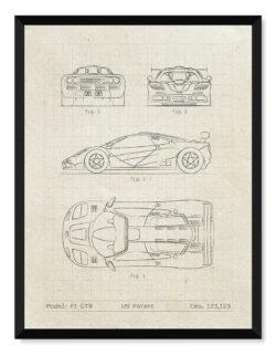 McLaren F1 GTR - Car Patent Poster • Art Print - Rear View Prints