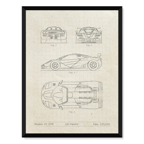 McLaren F1 GTR - Car Patent Poster • Art Print - Rear View Prints