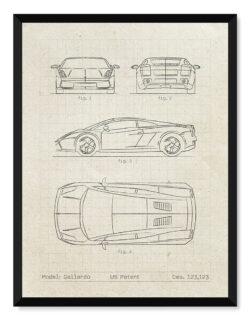 Lamborghini Gallardo - Car Patent Poster - Art Print - Rear View Prints