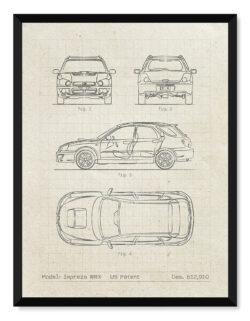 Subaru Impreza - Car Patent Poster - Art Print - Rear View Prints