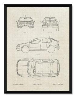 Seat Leon - Car Patent Poster - Art Print - Rear View Prints
