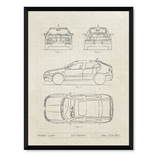 Seat Leon - Car Patent Poster - Art Print - Rear View Prints