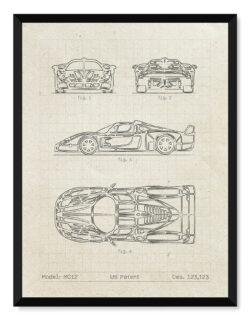Maserati MC12 - Car Patent Poster - Art Print - Rear View Prints