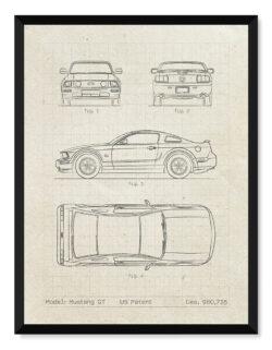 Ford Mustang GT - Car Patent Poster - Art Print - Rear View Prints