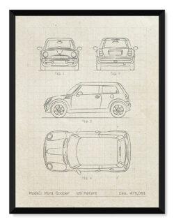Mini Cooper - Car Patent Poster • Art Print - Rear View Prints