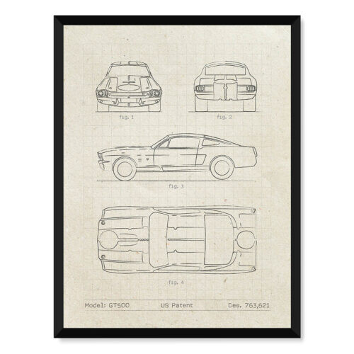 Ford Mustang Shelby GT500 - Car Patent Poster - Rear View Prints