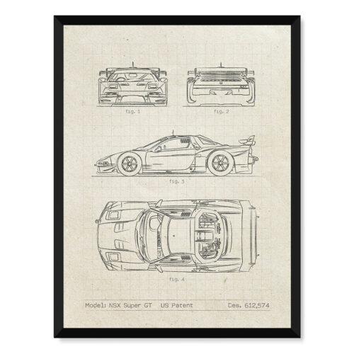 Honda NSX Super GT - Car Patent Poster - Art Print - Rear View Prints