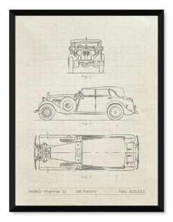 Rolls Royce Phantom II - Car Patent Poster - Art Print - Rear View Prints
