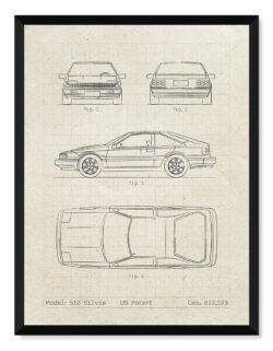 Nissan Silvia S12 - Car Patent Poster - Art Print - Rear View Prints