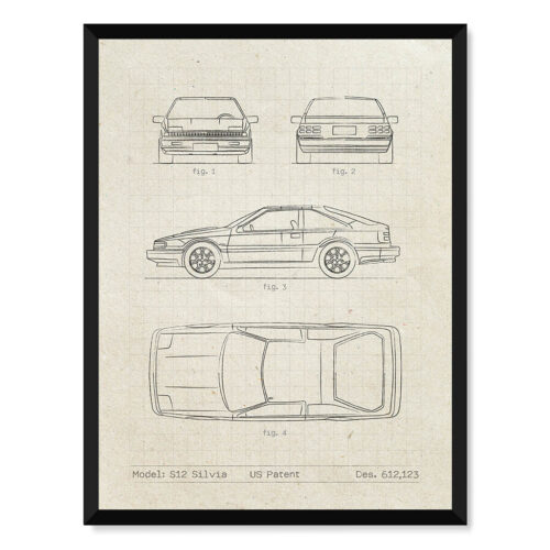 Nissan Silvia S12 - Car Patent Poster - Art Print - Rear View Prints