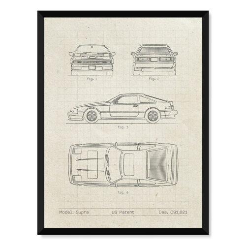 Toyota Supra - Car Patent Poster - Art Print - Rear View Prints
