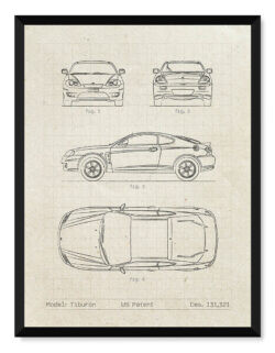 Hyundai Tiburon - Car Patent Poster -Art Print - Rear View Prints