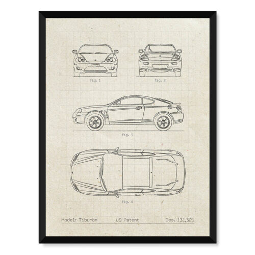 Hyundai Tiburon - Car Patent Poster -Art Print - Rear View Prints