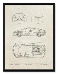 Bugatti Veyron - Car Patent Poster - Art Print - Rear View Prints