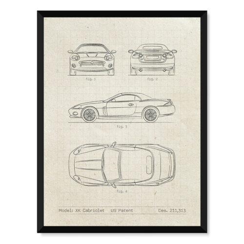 Jaguar XK - Car Patent Poster - Art Print - Rear View Prints