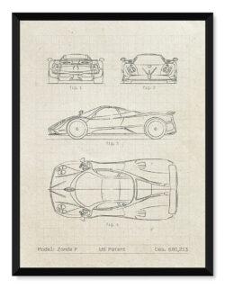 Pagani Zonda F - Car Patent Poster - Art Print - Rear View Prints