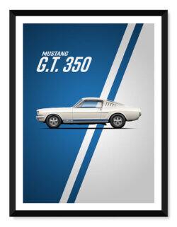 Shelby Mustang GT 350 - Car Poster - Art Print - Rear View Prints