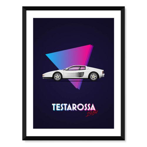 Ferrari Testarossa - Car Poster - Art Print - Rear View Prints