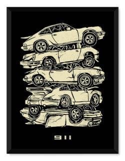 Porsche 911 Stacks • Car Poster • Art Print • Rear View Prints